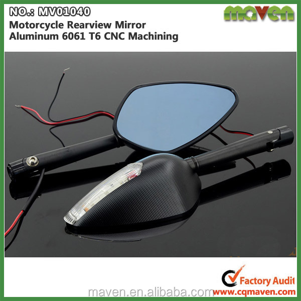 Universal CNC Integrated Motorcycle LED Mirror With Indicator Light MV01040