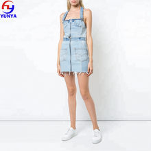 China supplier women blue cotton detachable mini denim dress
