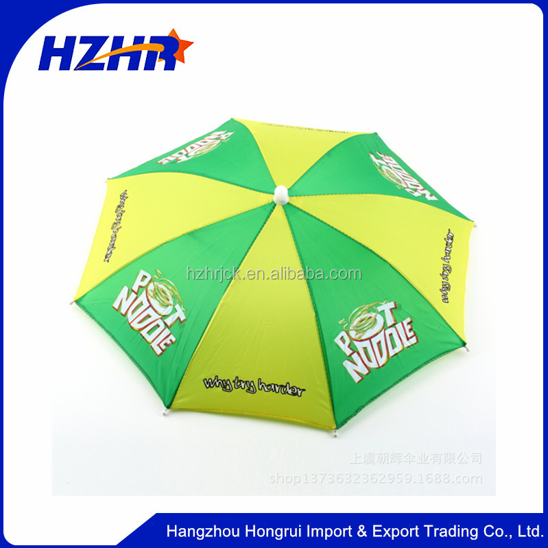 Cheap sun folding logo printed Advertising Head hat shape umbrella kid umbrella hat