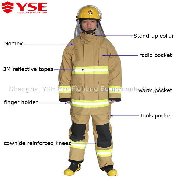 YSE Factory Direct Supply CE Standard Fire Rescue Fireman Dress Uniform For Industrial Safety
