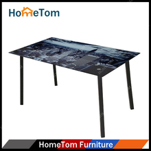 European Market Printing Rectangular Tempered Glass Top 4 Seater Dining Table