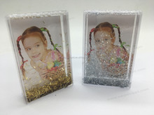 Mini Rectangle Plastic Acrylic Water Photo Frame Silver and Gold Confetti Glitter Photo Frame