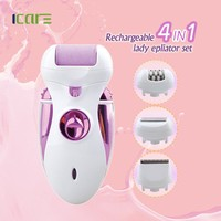 Rechargeable 4 in 1 8 hours charge foot callus remover/epilator/lady shaver/hair clipper