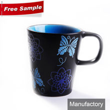 13oz special unique shaped ceramic coffee mug with special handle