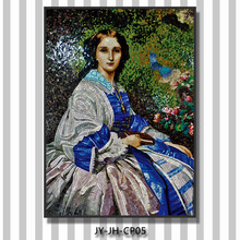 ZTCLJ JY-JH-CP05 Mosaic Portrait Backsplash Tiles Wall Hanging Glass Mosaic Picture Handmade Tiles Famous Painting of Women