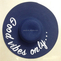 Ladies summer letters printing wide brim paper straw hat mexican hats wholesale