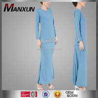 Custom Fashion Islamic Model Abaya Baju Kurung Modern Muslim Clothing Melayu Long Woman Beading Kebaya Kurung