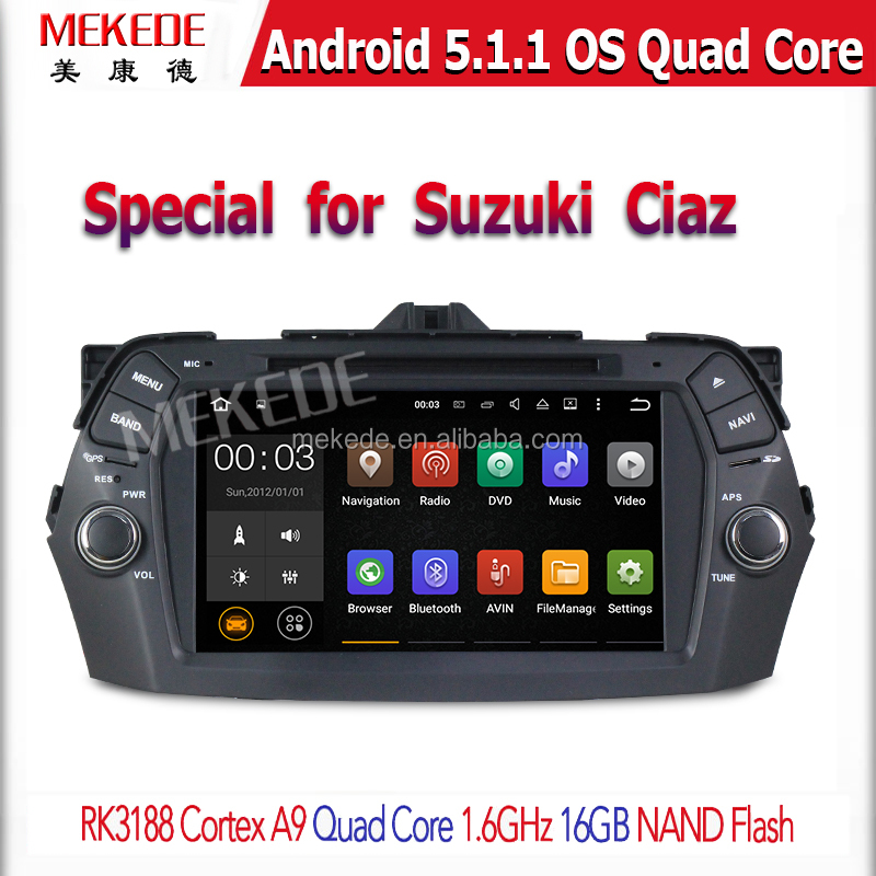 1024*600 RK3188 Quad Core CPU Android 5.1.1 Car GPS DVD For Suzuki Ciaz 2015 with WIFI GPS Capacitive Screen Stereo 16GB Nand