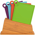 Plastic cutting boards with bamboo stand Plates in different colors