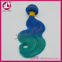 see!cheap wholesale brazilian human hair weave traditional body wave styles two tone splendid appearance ombre blue green color