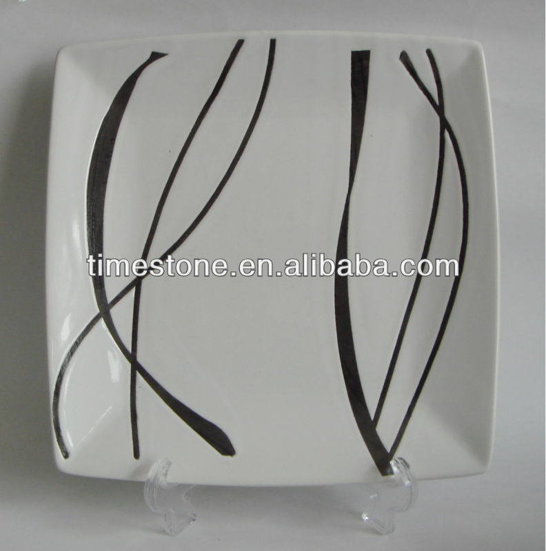 Ceramic High Light White Square Plate Dishes With Black Stripe