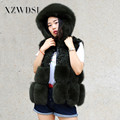 CX-G-B-119 Eco-friendly Dark Green Real Lamb Fur And Fox Fur Vest
