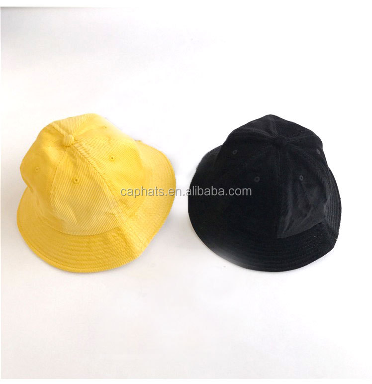 Wholesale Yellow/Black/Khaki Colour Corduroy Fabric Plain Bucket Hat