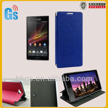 Flip leather case for sony xperia c case back cover