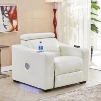 Smart Tech Bluetooth Power Reclining White Sofa Recliner With Speakers 9929