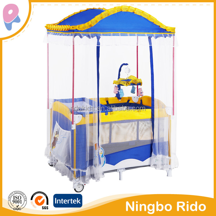 Luxury square mosquito net Baby folding playpen, baby play yard baby products, baby foldable travel cot