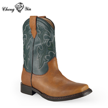 Wholesale Kids Genuine Leather Cheap Warm Snow Winter Cowboy Boots