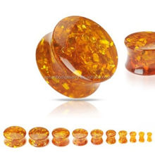 Synthetic Amber Double Flared Saddle Ear Flesh Plug Tunnel Expander Stretcher