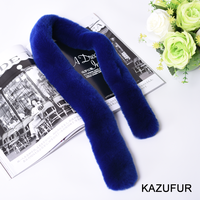 High Quality Ladies Rex Rabbit Fur Scarf Real Fur Scarf For Women KZ160055