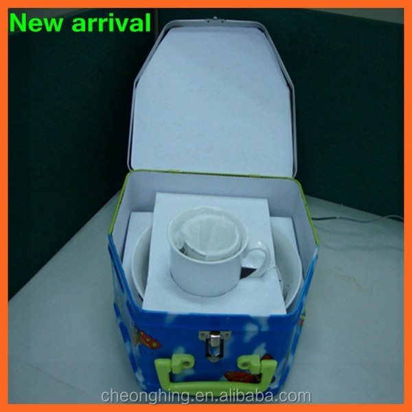 High quality beautiful house shape tin can with lock and handle for China cup