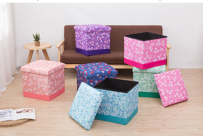 Most Popular Printed Flower  Made of Dueable Storage Ottoman Stool