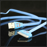 30pin accessories mobile phone usb data cable for iphone/ipad/ ipod high speed flat smiling