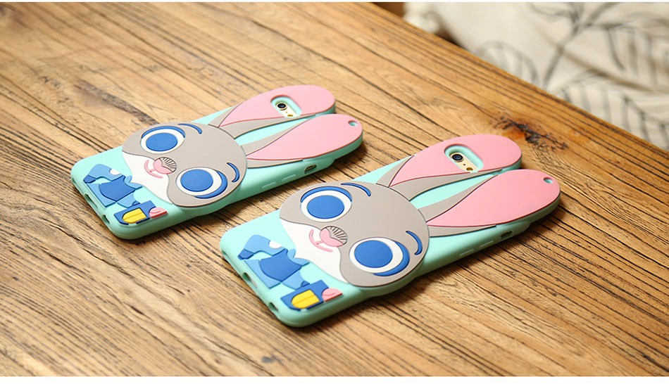 3D Cartoon Cute Silicone Case for iPhone5 5s SE 6 6s 6Plus 6sPlus Zootopia Rabbit TPU Silicone Soft Case