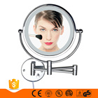 8.5 inch UL listed chrome finish LED light wall mount makeup magnifying mirror, magic decorative wall bathroom mirror