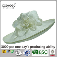 Lady Wholesale White Church Hats Wide Brim Sinamay Hat For Women