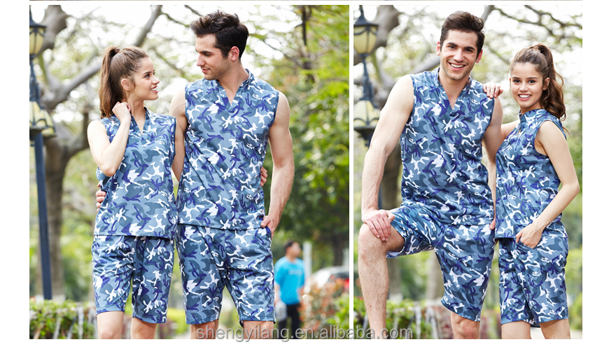 sports wear ,gym camo/camouflage sleeveless singlet/tank top couple turtleneck t shirt sets clothing