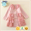 Spring Lovely thin girl coat style dress with lace layers korean girl dress coat model for children girl