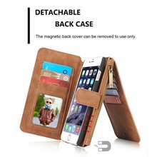 Wallet Leather Case with Detachable, Card Slot Magnet Back Case for iPhone 6s plus