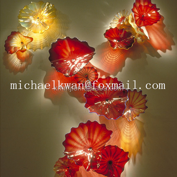 Modern home hanging decoration goods handmade murano glass red flower wall <strong>art</strong>