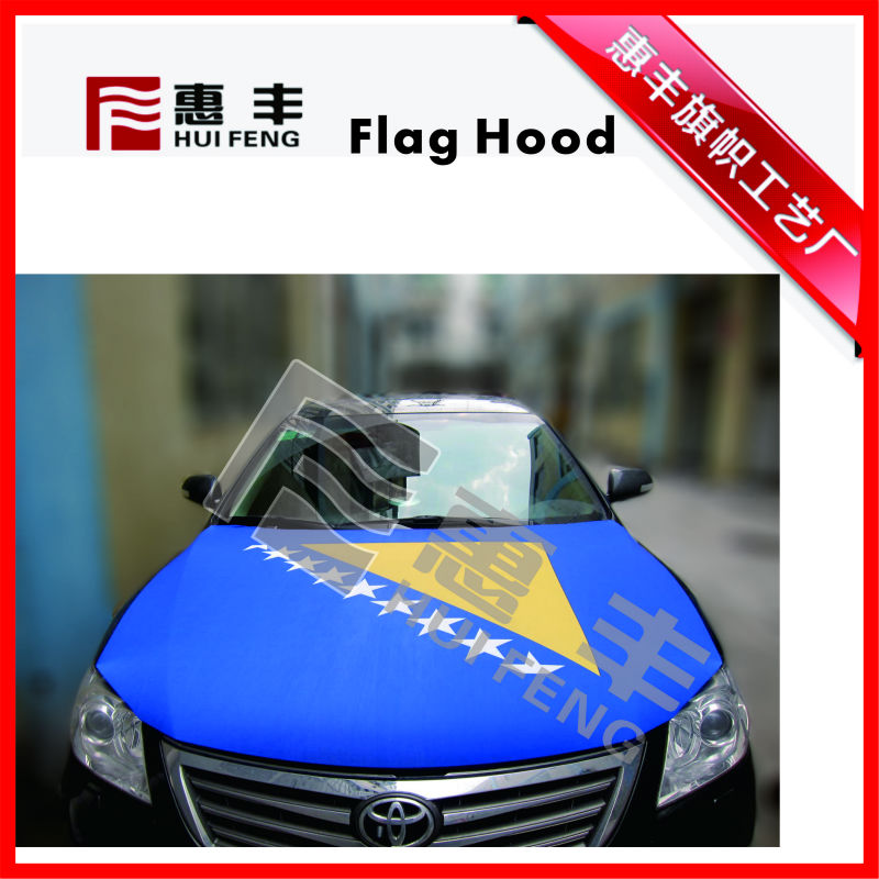 Durable elastic fabric Custom Promotional High Quality Car National Engine Hood Cover for advertising
