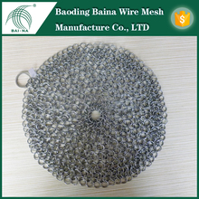 china supplier SS316L cast iron pan scrubber/chainmail scrubbers