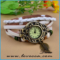 Fashion Beads Decorated, 6 Colors Genuine Leather Strap Vintage Brand Watch Bracelet Women&Lady's Wrist Dress Watch