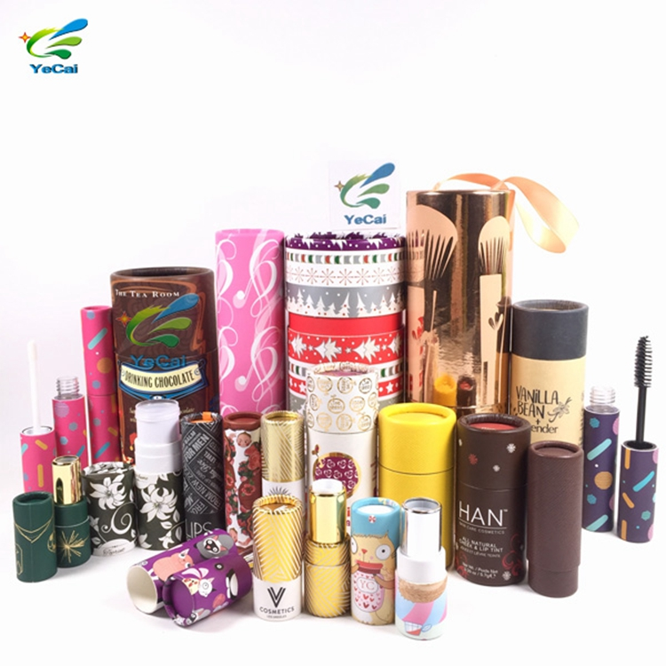 Design your own free sample kraft paper tube packaging , eco-friendly round carton cardboard box lipstick paper tube