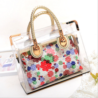 W92616A 2016 new design fashion woman handbag ladies clear plastic bag