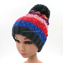 Kids winter knitting pompom hats colorized striped caps with soft coral fleece