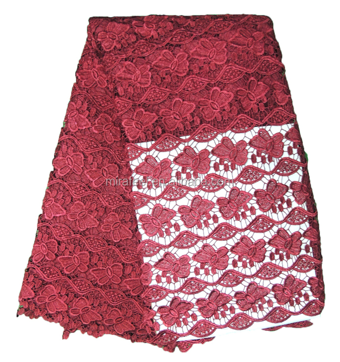 african fabric lace tulle cord lace latest style guipure net lace 3001 wine red
