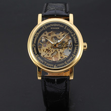 2017 new style factory direct fashion gold skeleton watch for men