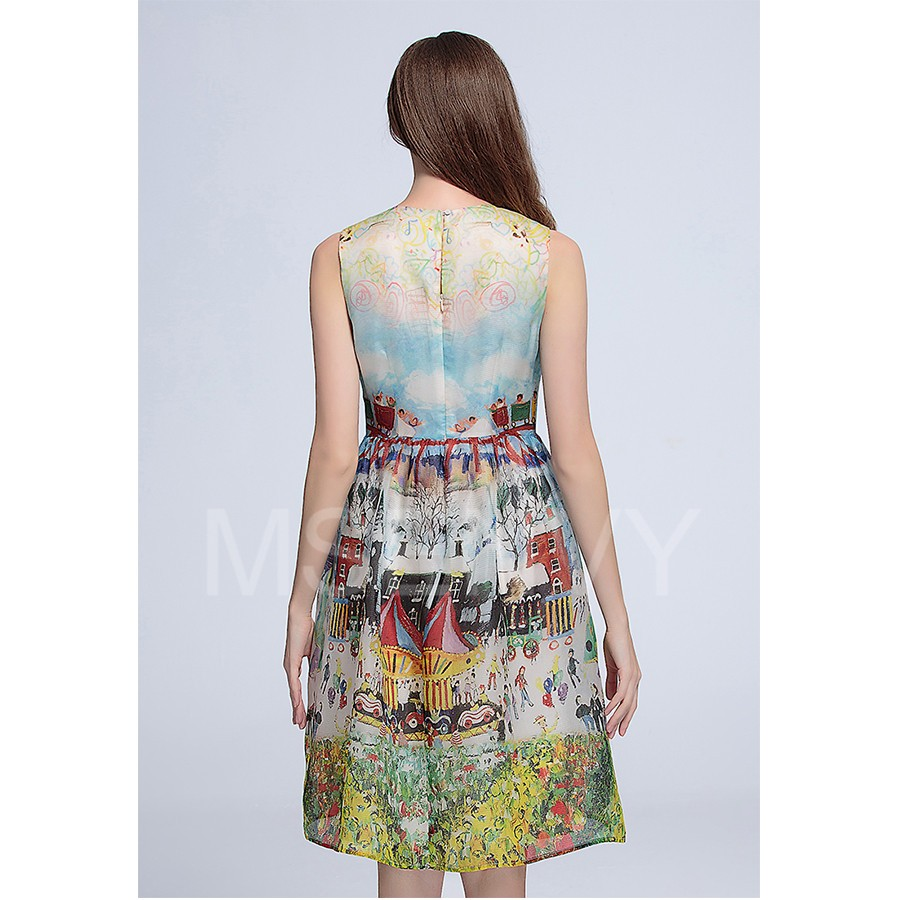 floral digital printed silk organza Midi Dress