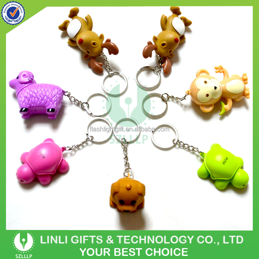 Various Animal Styles Led Sound Key Chain,Anmial Key Ring,Led Sound Keyring