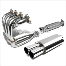 "NEW HEADER+PIPE+3""TWIN SQUARE TIP CHROME MUFFLER EXHAUST FOR 88-00 CIVIC D16"