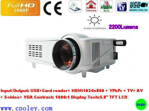 Home theater low cost 80w led lamp hd projector.usb/sd support rmvb,projector hdmi,built in tv tuner&speaker