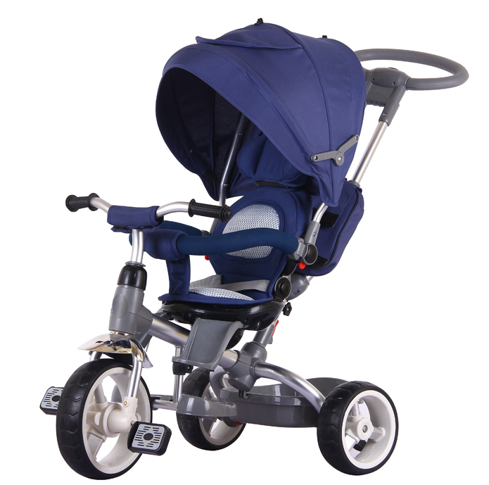 Large high quality kid tricycle with seat rotation and canopy push rod