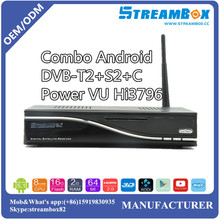 PowerVU Hi3796 USB Blue3.0 IKS CCCam Android Combo Satellite TV HD Receiver