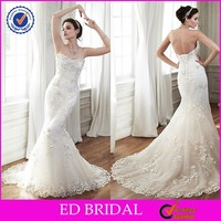 2015 High End Sweetheart Irish Lace Backless Mermaid Wedding Dresses