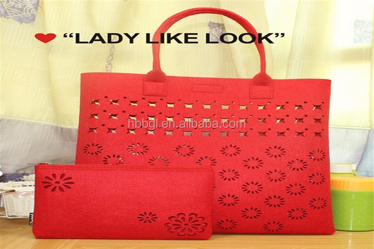 2018 trendy red felt hand bags/fashion cheap women handbag from China