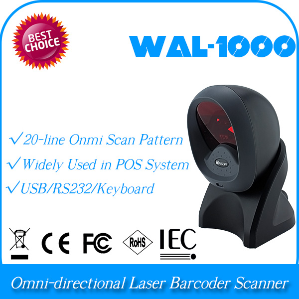 professional universal auto diagnostic scanner usb Omnidirectional Barcode scanner WAL-1000